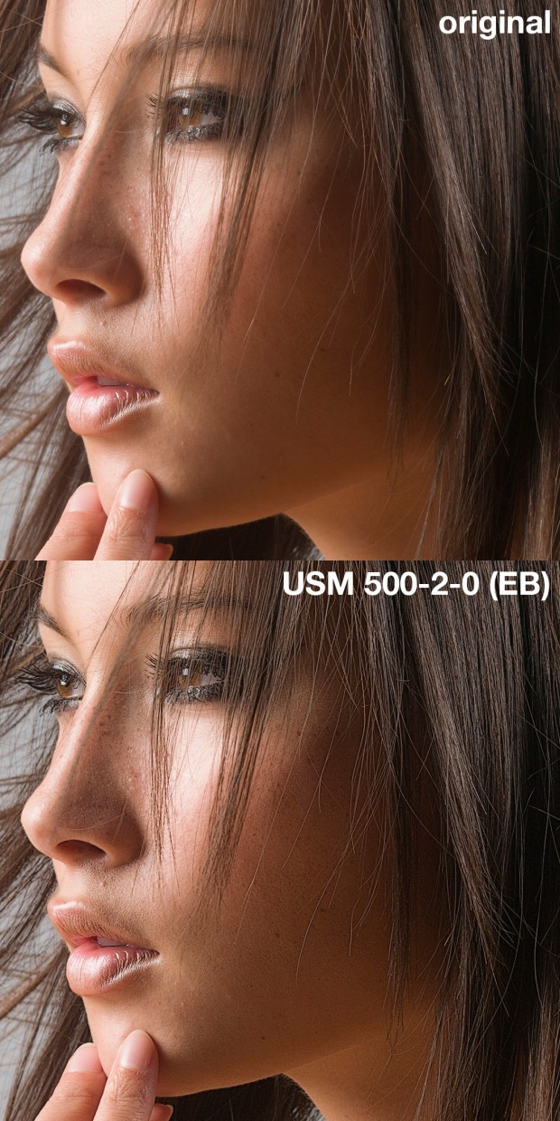 Above: a portrait original (courtesy of Hasselblad). Below: the result of USM 500-2-0 performed with the Ersatz Black USM action. (Click to enlarge.)