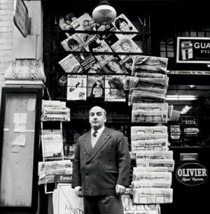 Tony Abbro, newsagent, Old Compton Street, December 1960. Photograph: John Deakin. Copyright 2014 John Deakin Archive