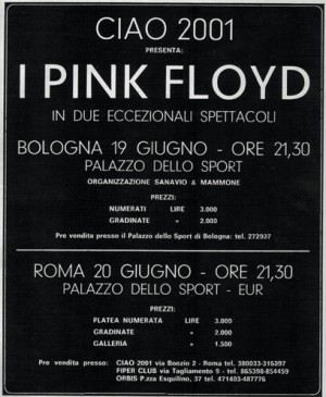 The poster advertising Pink Floyd's concerts in Italy, June 1971.