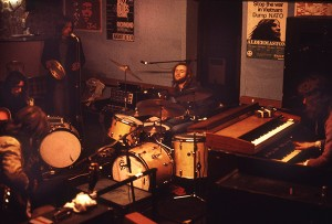 Genesis rehearsing at The Inferno Club in Plumstead, 1972. Original scan.