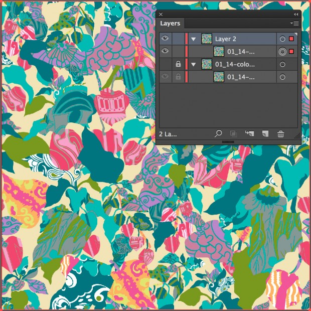 The look of Illustrator's layers palette after copying and pasting the artwork onto a new layer.
