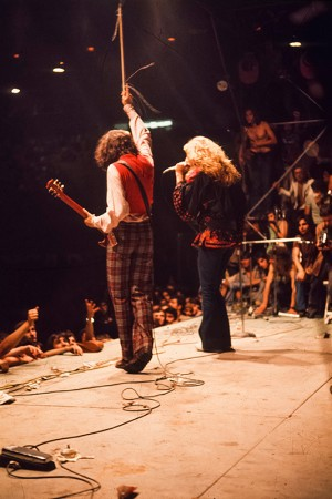 Led Zeppelin on stage in Milan, 1971. © 1971 Armando Gallo.